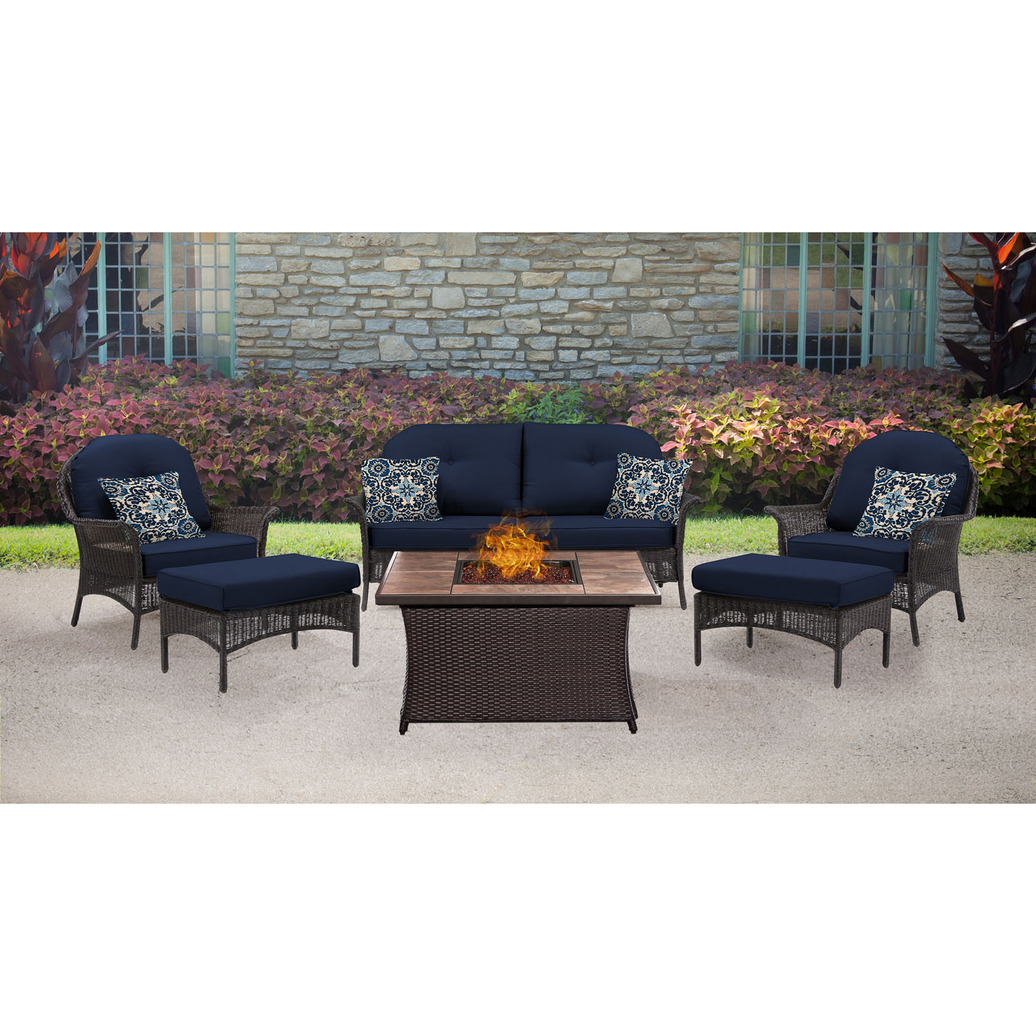 Hanover San Marino 6-Piece Woven Fire Pit Set with Faux-Stone Tile Top