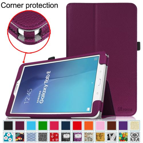 Samsung Galaxy Tab E 9.6 / Tab E Nook 9.6 Inch Tablet Folio Case - Fintie Slim Fit PU Leather Stand Cover, Purple