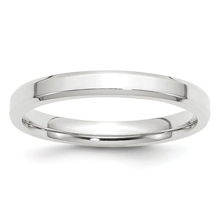 10k White Gold 3mm Bevel Edge Comfort Fit Band Size 7.5 Fine Jewelry Valentine's Day Gifts