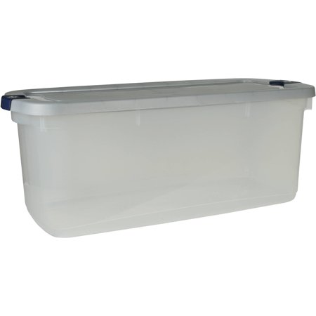 Rubbermaid Roughneck Clears Storage Tote Bins 95 Qt 23 75 Gal Clear With Gray Lid Set Of 4
