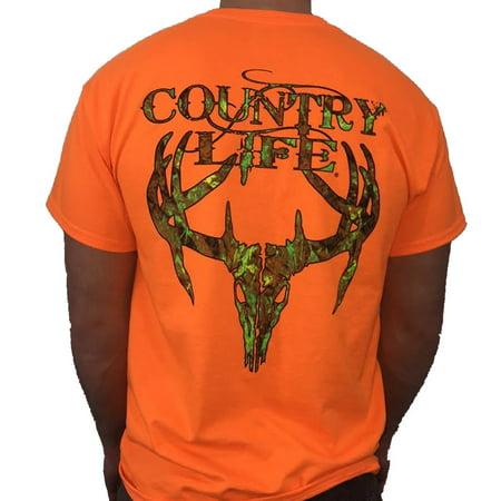 Country Life Camo Deer Skull Orange Short Sleeve Shirt (Medium)