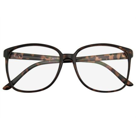 Emblem Eyewear - Oversized Glasses Large Horned Rim Clear Lens Thin (Thin Wire Rim Glasses)
