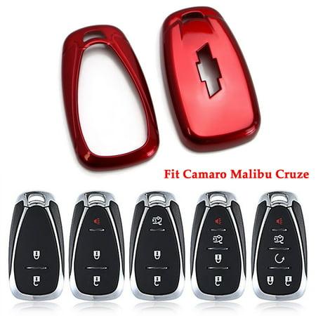 Red Glossy Remote Key Fob Shell For Chevy Camaro Malibu Cruze Spark Volt