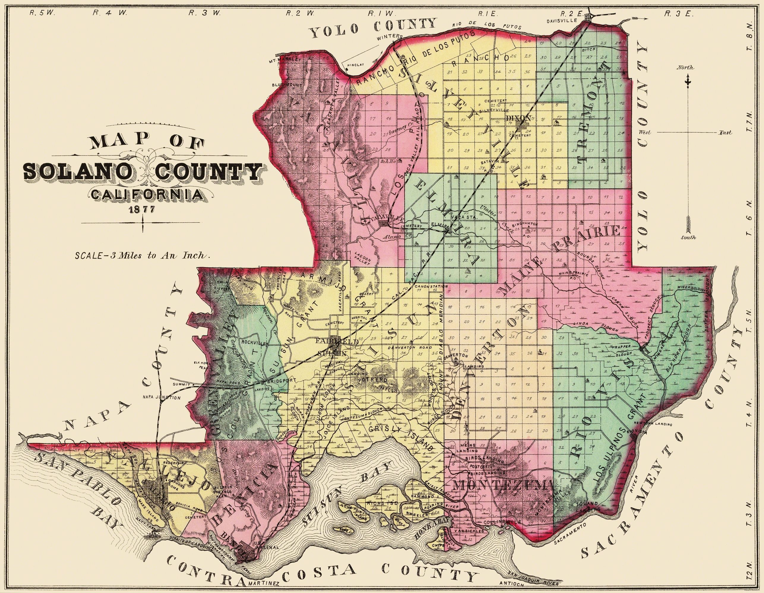Map Of California Vacaville.Old County Map Solano Vacaville California 1877 29 56 X 23