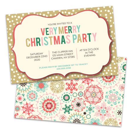 Personalized Multicolored Very Merry Christmas Party invitations - Christmas Party Invitation