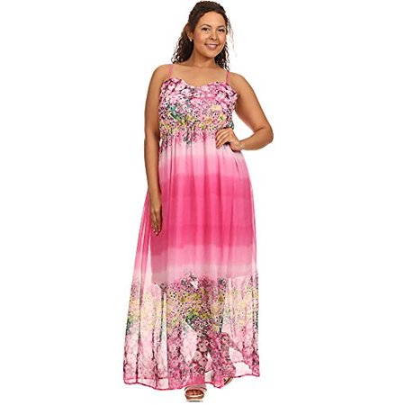Womens Plus Size Floral Criss Cross Open Back Smocked Pink Spring Maxi  Dress (3X Plus)