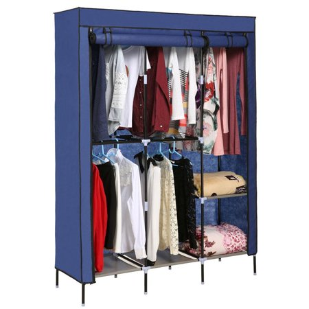 Folding Closet Organizer Storage Wardrobe Cabinets Clothes Rack With Covered