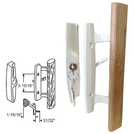 STB Sliding Glass Patio Door Handle Set, Mortise Type, Keyed, White, 3-15/16