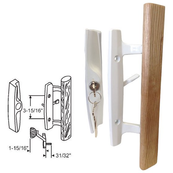 Stb Sliding Glass Patio Door Handle Set Mortise Type Keyed White 3 15 16 Holes Com