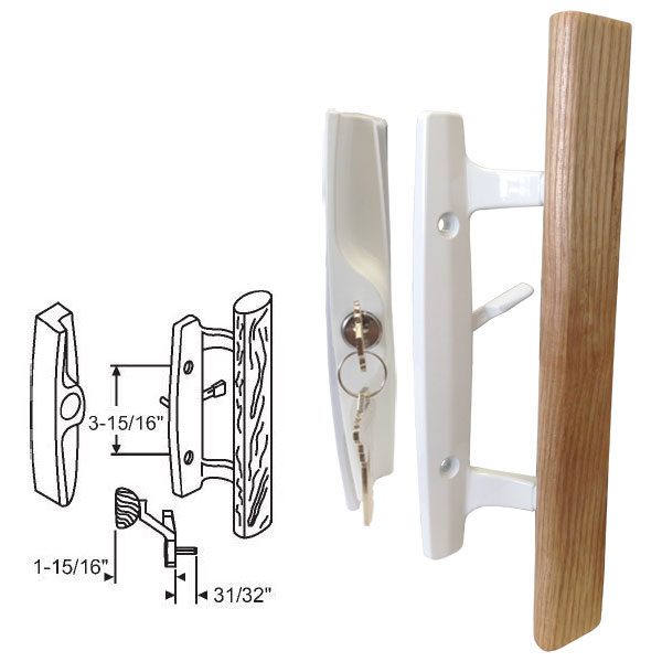 "STB Sliding Glass Patio Door Handle Set, Mortise Type, Keyed, White, 3-15/16"" Screw Holes"