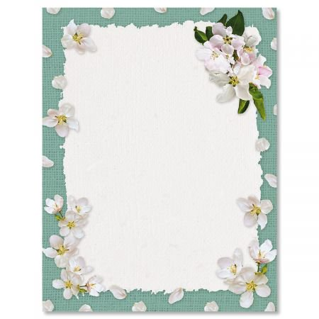 White Spring Blooms Easter Letter Papers - Set of 25 spring stationery papers are 8 1/2