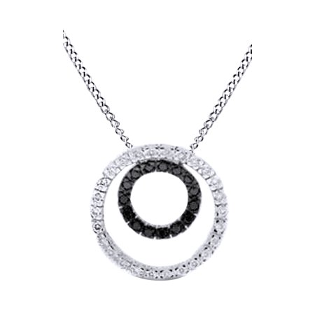 Beautiful Black & White Natural Diamond Double Circle of Life Pendant Necklace In 14K Solid White Gold