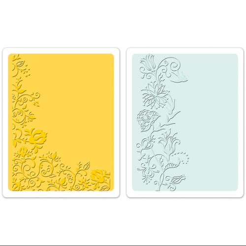 Sizzix Textured Impressions A6 Embossing Folders, Floral Vines, 2-Pack