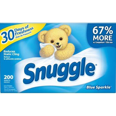 (2 Pack) Snuggle Fabric Softener Sheets, Blue Sparkle, 200 Count