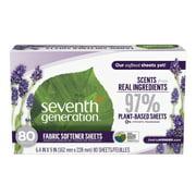 Seventh Generation Fresh Lavender Fabric Softener Sheets, 80 sheets