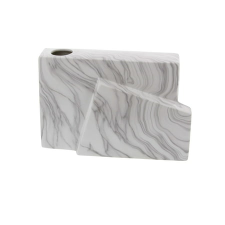 Ruby Rectangular Vase (Decmode Contemporary 7 inch white asymmetric rectangular ceramic vase with black marbling accents, White)
