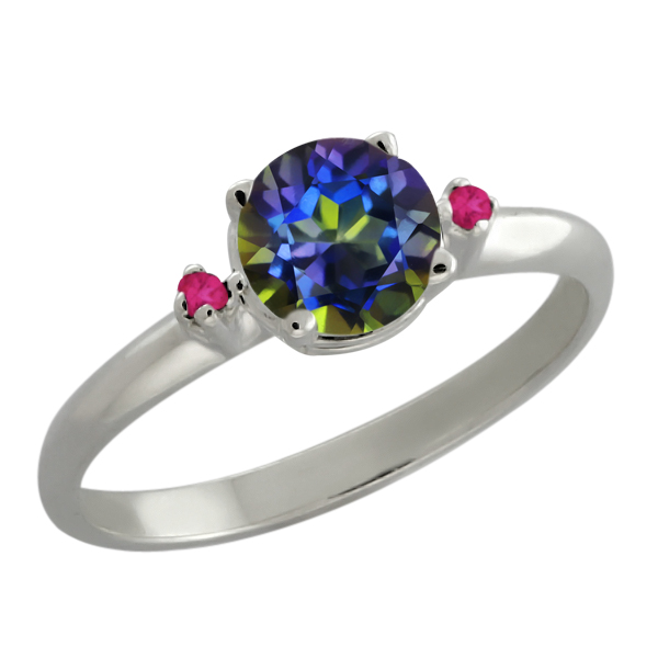 0.82 Ct Blue Mystic Topaz Pink Sapphire Sterling Silver 3-Stone Ring by