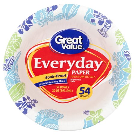 Great Value Everyday Paper Bowls, 20 oz, 54 - Plastic Punch Bowl