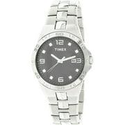 Men's Swarovski Crystal Accents Silver-Tone Dress Watch Black Dial T2P261