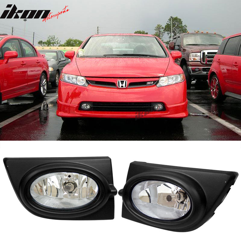 Fits 06-08 Honda Civic 4Dr Sedan Clear Lens Fog Lights WithSwitch OE Style Pair