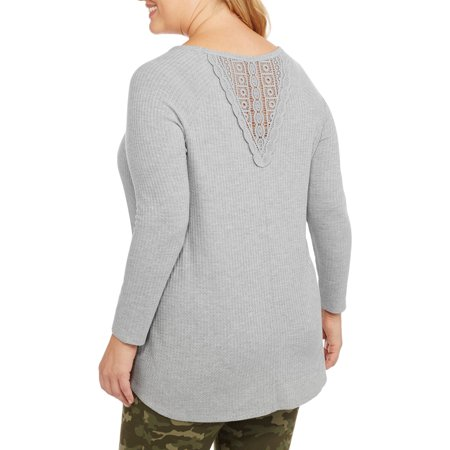 Faded Glory Women's Plus Thermal Tunic with Back Lace Detail