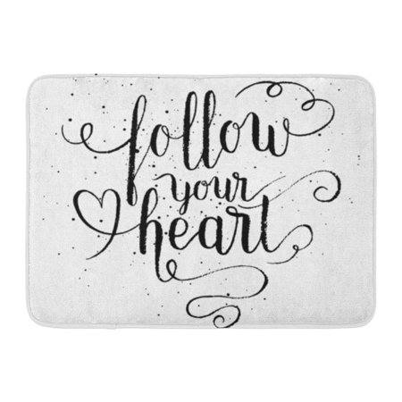 SIDONKU Watercolor Peace Follow Your Heart Hand Lettering Quote Open Love Save Doormat Floor Rug Bath Mat 23.6x15.7 (Love Open The Door To Your Heart)