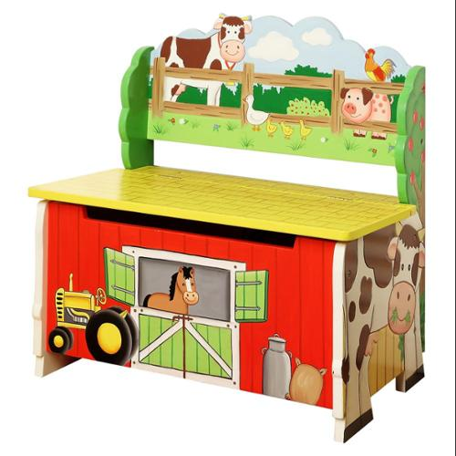 Fantasy Fields Hand Painted Happy Farm Storage Bench