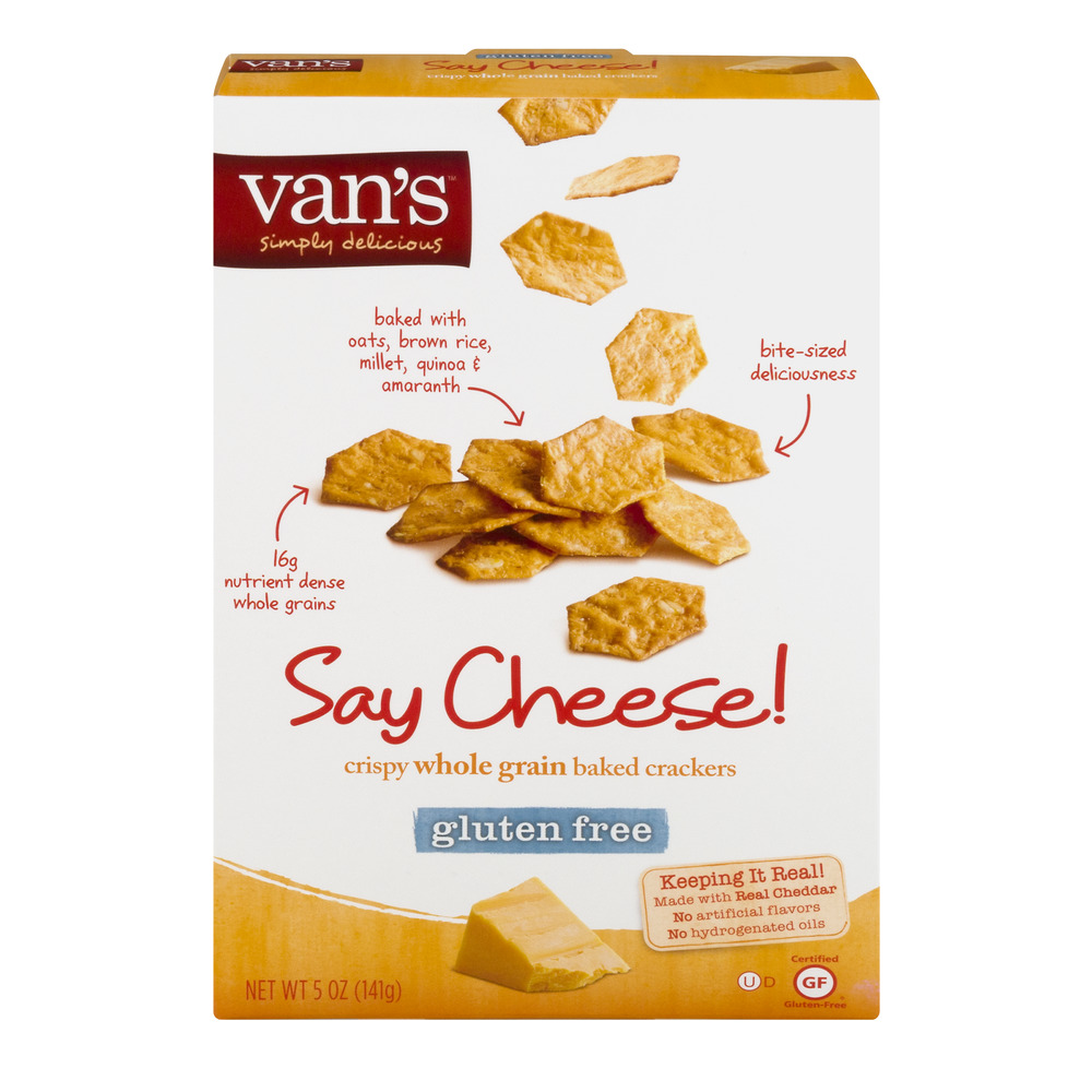 Van's Gluten Free Crispy Whole Grain Baked Crackers Say Cheese!, 5.0 OZ