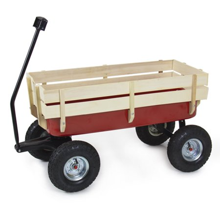 Best Choice Products All Terrain Steel Wagon Cart W  Wood Railing