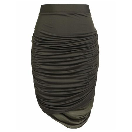 Women Elastic Waist Solid Stretch Ruched Mini Pencil Skirt Plus Size HFON ()