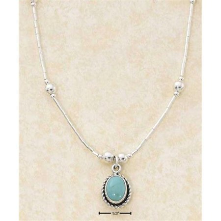 Sterling Silver 16 Inch Roped Edge Oval Turquoise Pendant Necklace On Liquid Silver