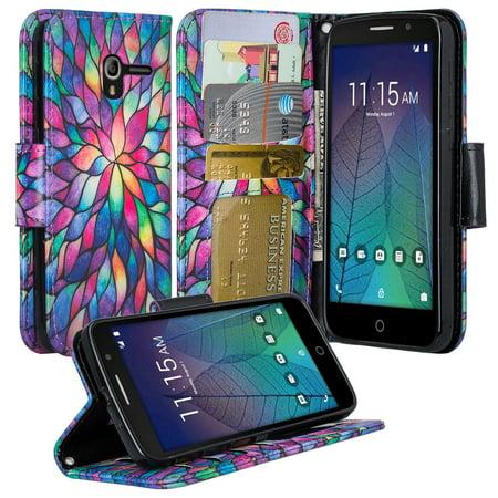 Alcatel TRU Case | Alcatel Stellar Case, Wrist Strap Flip Fold [Kickstand] Pu Leather Wallet Case with ID & Credit Card Slots For Alcatel TRU/Stellar - Rainbow Flower