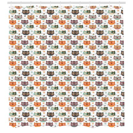 Cats Shower Curtain, Pattern with Playful Kitty Faces Wearing Eyeglasses among Pawprints for Pet Lovers, Fabric Bathroom Set with Hooks, 69W X 75L Inches Long, Multicolor, by (Best Eyeglass Frames For Long Face)