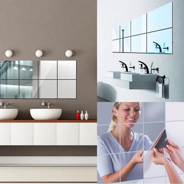 16 Sheets Flexible Mirror Sheets Mirror Wall Stickers Self Adhesive