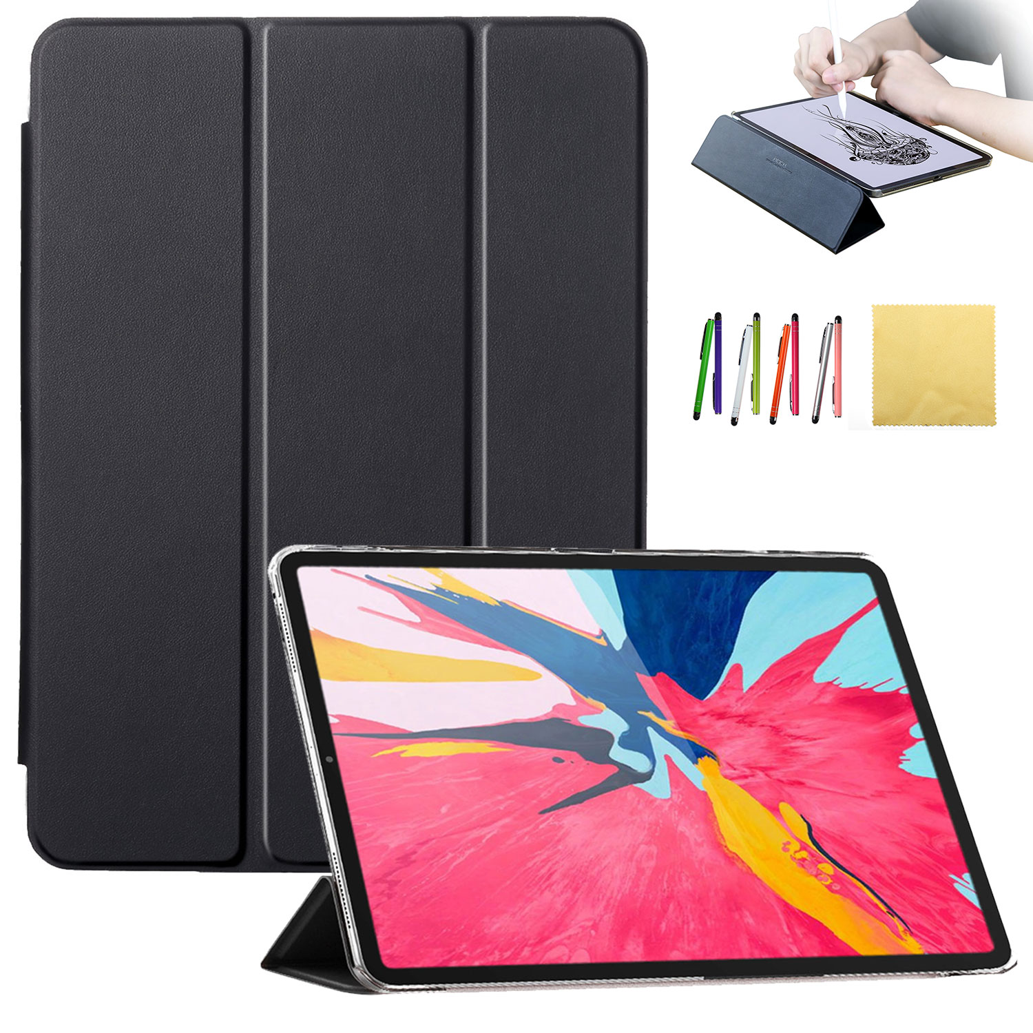 """Goodest Case for iPad Pro 12.9"""" Case 2018 3rd Generation - Slim Stand Smart Shell with Auto Wake/Sleep + Rugged Translucent Back Cover Support Apple Pencil Attechment for Apple iPad Pro 12.9, Black"""