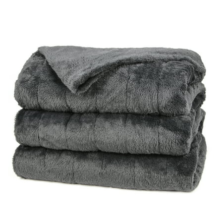 Sunbeam Heated Electric Microplush Blanket with 10 heat settings, Queen, Slate