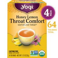 (Pack of 4) Yogi Tea, Honey Lemon Throat Comfort Tea, Tea Bags, 16 Ct, 1.12 OZ