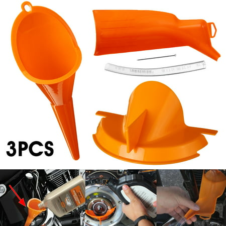 3PCs Crankcase Fill Primary Case Oil Fill Drip-Free Oil Funnel Motorcycle Funnel Gasoline Funnel Transmission Crankcase Fill Funnel For Harley