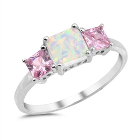- Sterling Silver Women's Flawless Pink Cubic Zirconia White Simulated Opal Square Simulated Princess Cut Ring (Sizes 4-10) (Ring Size 10)