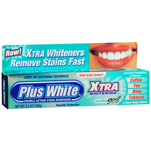 Plus White Xtra Whitening Cool Mint Gel With Tartar Control - 3.5 Oz, 6 Pack
