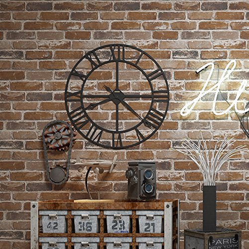 Flat Faux Brick Stone Wallpaper Roll 3D Effect Blocks Vintage Home Decoration Brown