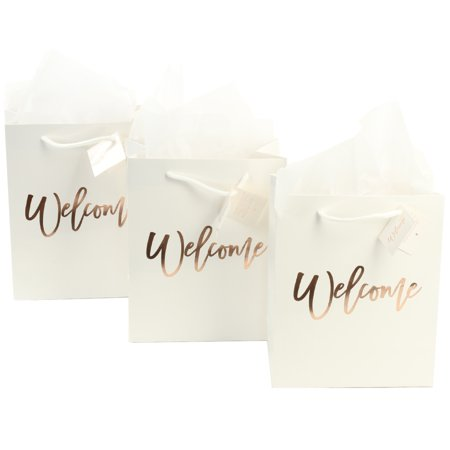 Andaz Press Large White Foil Stamped Welcome Bags for Wedding Guests, Bulk Set of 25 Includes White Tissue Paper