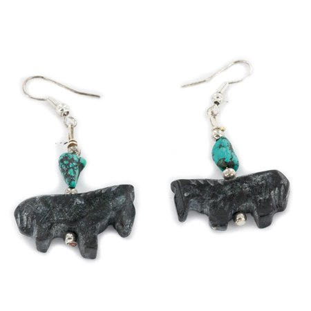 Carved Fetish $80 Retail Tag Horse Authentic Made by Charlene Little Navajo .925 Sterling Silver Hooks Natural Turquoise Jet Dangle Native American Earrings