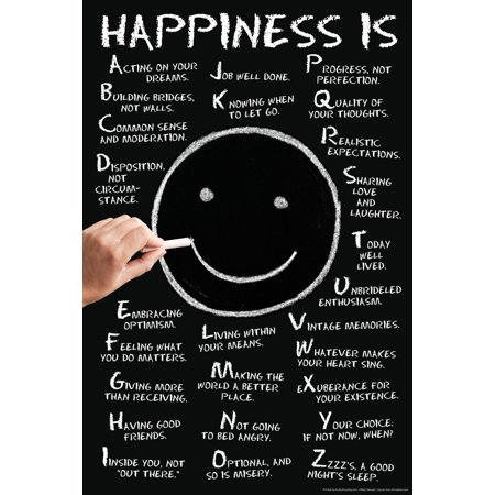 Happiness Is A Z Motivational Poster   12X18