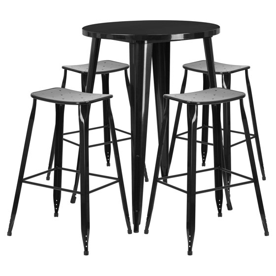 30 Round High Top Restaurant Cafe Bar Table And Cherry: Flash Furniture 30'' Round Black Metal Indoor-Outdoor Bar