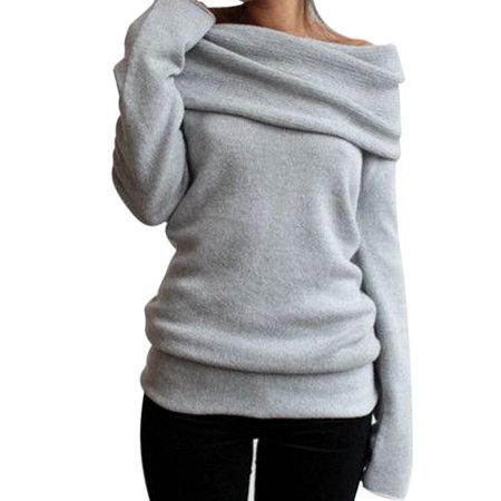 fd1c439a9ff8 Sexy Dance - Womens Off the Shoulder Chunky Knit Jumper Lapel Neck Ladies  Oversized Baggy Sweater Pullover Top - Walmart.com