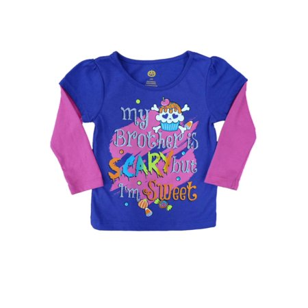 Happy Halloween Infant Girls My Brother Is Scary But I'm Sweet T-shirt Shirt 12m - Games Baby Hazel Happy Halloween