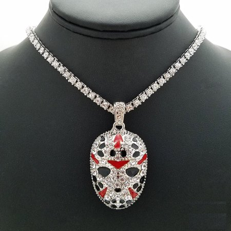 "Hip Hop Rhodium Plated Slaughter Gang Pendant & 16"" Full Iced 1 Row Diamond Tennis Choker Chain"
