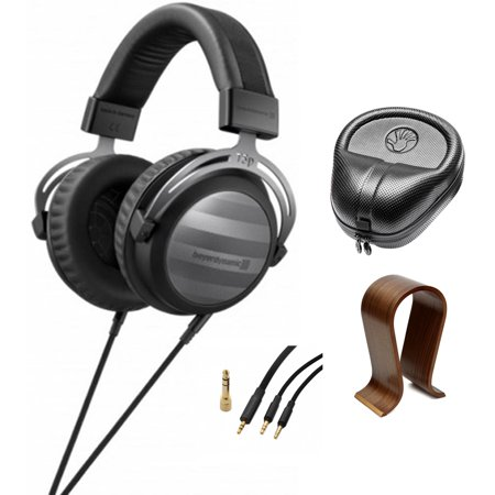 BeyerDynamic T5p Audiophile Hi-fi Portable and Home Studio Headphones 2nd Generation (719005) with Wood Headphone Stand & HardBody PRO Full Sized Headphone Case (Best Portable Generator Brands)