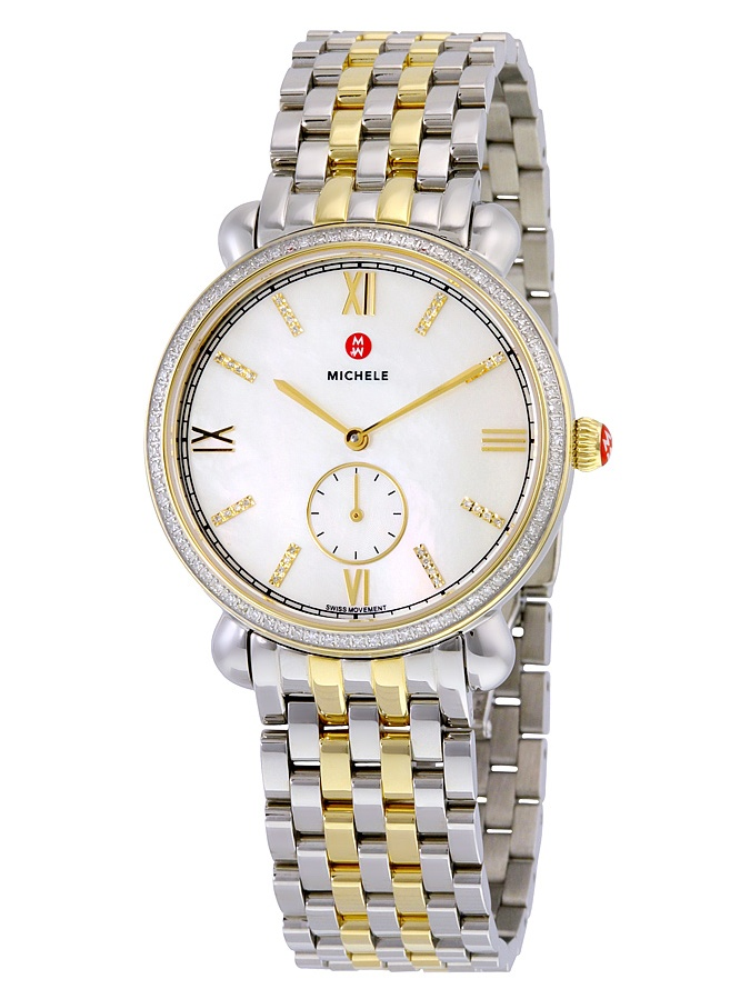 Michele Gracile Mother of Pearl Dial Two-tone Ladies Watch MWW26A000003